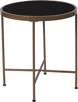 Flash Furniture Chelsea Collection Black Glass End Table with Matte Gold Frame