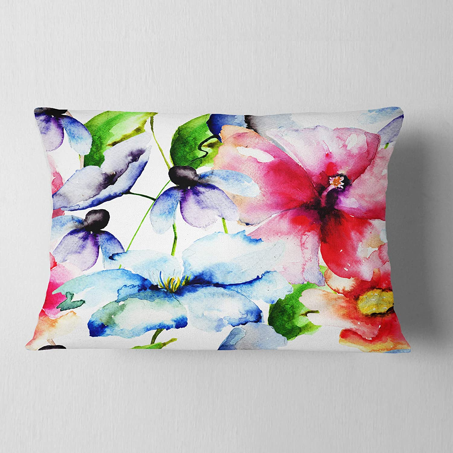 Designart CU6247-12-20 Watercolor Flowers Everywhere' Floral Throw Round Cushion Pillow Cover for Living Room, Sofa, 12 in. x 20 in. in, Insert Printed On Both Side