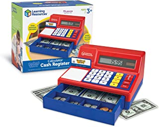 Learning Resources Pretend & Play Calculator Cash Register, Pretend Play Toys, Classic Counting Toy, Play Cash Register fo...
