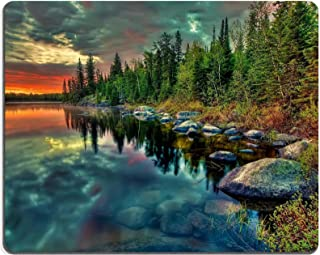 Forest Lake Sunset Beautiful Colors Mouse Pads Customized Made to Order Support Ready 9 7/8 Inch (250mm) X 7 7/8 Inch (200mm) X 1/16 Inch (2mm) High Quality Eco Friendly Cloth with Neoprene Rubber Luxlady Mouse Pad Desktop Mousepad Laptop Mousepads Comfortable Computer Mouse Mat Cute Gaming Mouse pad