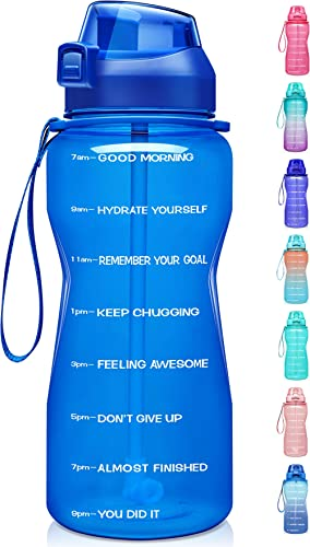 Fidus Large Half Gallon/64oz Motivational Water Bottle with Time Marker & Straw,Leakproof Tritan BPA Free Water Jug,E...