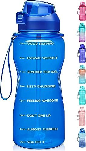 Fidus Large Half Gallon/64oz Motivational Water Bottle with Time Marker & Straw,Leakproof Tritan BPA Free Water Jug,E...
