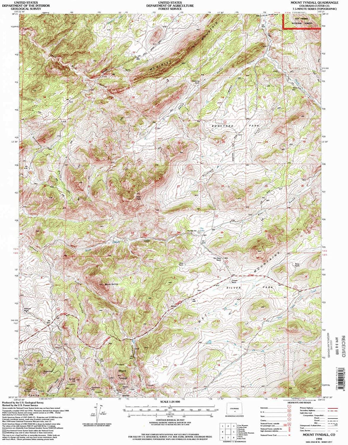 Mount Tyndall CO topo map, 1 24000 Scale, 7.5 X 7.5 Minute, Historical, 1994, Updated 1998, 26.7 x 22.1 in