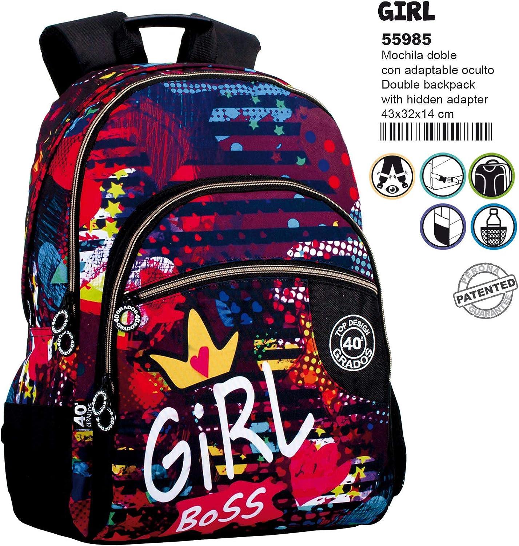 Montichelvo Montichelvo Double Backpack A.O. Cg Girl Schulranzen, 43 cm, Mehrfarbig (Multicolour) B079VR9W5Z | Verkauf Online-Shop