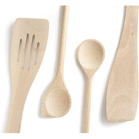 Ustensiles de cuisine en bois, Set de 4, ensemble complet, spatules en hêtre, Made in EU, 1 grande cuillère à sauce de 30cm, 1 spatule mortaise 30cm, 1 spatule biseautée 30cm, 1 maryse a pâtisserie