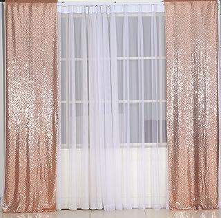 Poise3EHome Pailletten Fotografie Vorhang, 2 Paneele für Party Dekoration, Roségold, 60 x 240 cm
