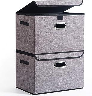 折り畳み収納ボックス整理箱<2つ入り>大型グレー無臭綿麻蓋付き収納ボックス、金属取っ手、寝室、クローゼット、おもちゃ、事務室、学生