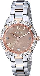 ساعة بولوفا 98R264 للنساء كلاسيك ألماس مينا لؤلؤية مطلية بالذهب الأحمر