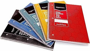 AmazonBasics College Ruled Wirebound Spiral Notebook, 70 Sheet, Assorted Sunburst Pattern Colors, 5-Pack