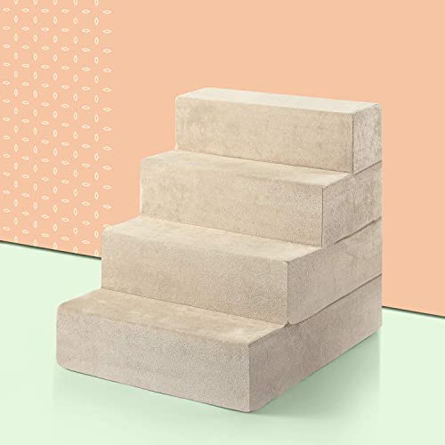 ZINUS Foam 61 cm cuatro escalones Escaleras para mascotas | Rampa para gatos y perros extragrande, crema
