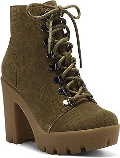 Jessica Simpson Women's Mistah Combat Boot, Fatigue Green, 9
