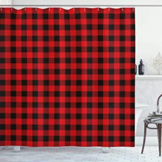 Ambesonne Plaid Shower Curtain, Lumberjack Fashion Buffalo Style Checks Pattern Retro Style with Grid Composition, Cloth Fabric Bathroom Decor Set with Hooks, 70