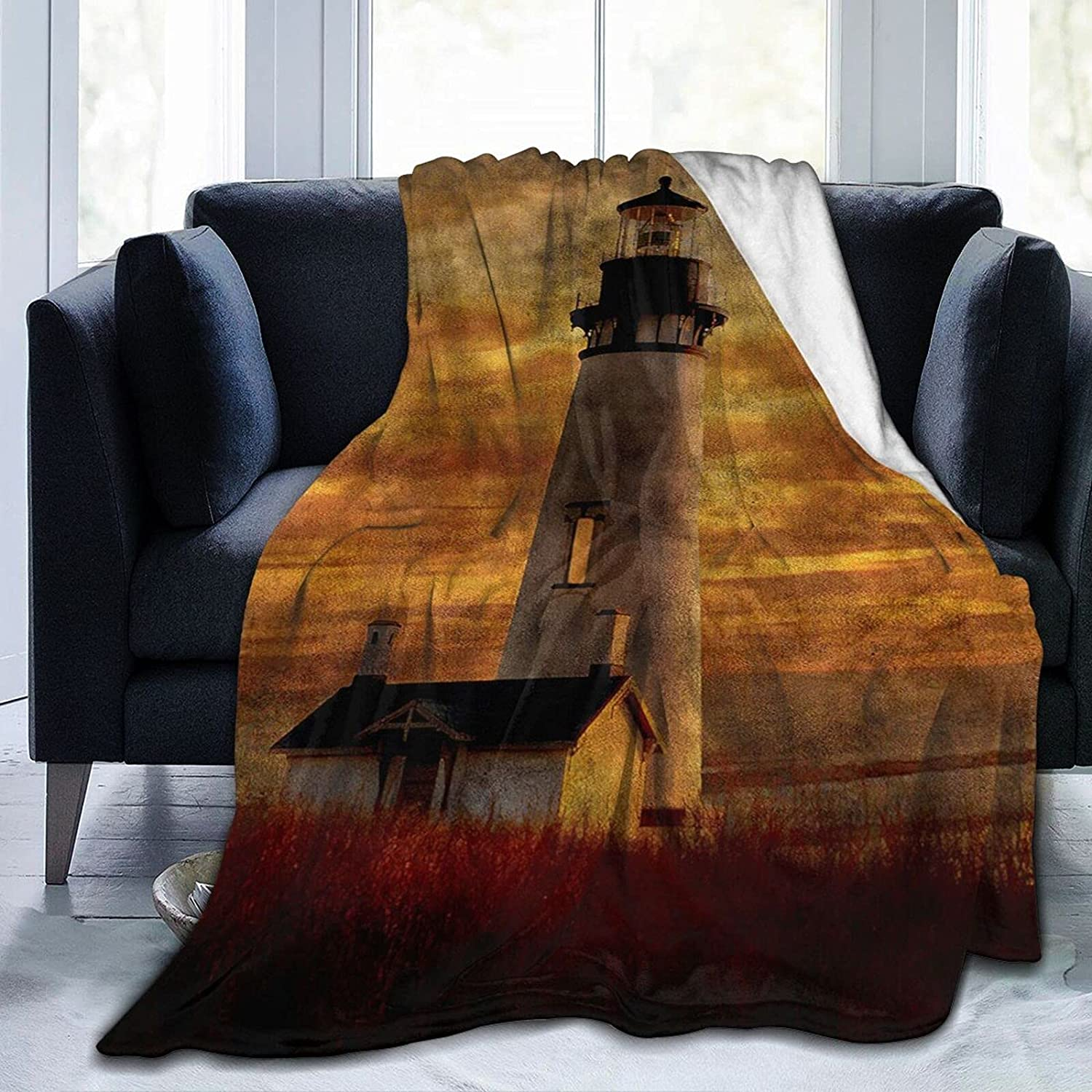 Poltbaie Al sold out. Lighthouse Print Blanket Ultra for Max 64% OFF Fleece Soft