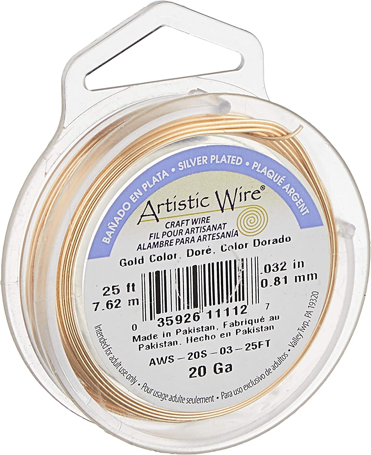 Artistic Wire 7.6 m 14 Gauge Antique Brass Color 25 ft Craft Wire