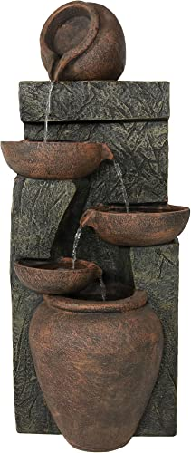 high quality Sunnydaze high quality Cascading Earthenware Pottery lowest Stream Fountain, 39-Inch outlet online sale