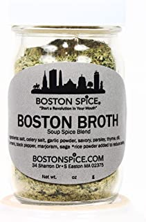Boston Spice Boston Broth Gourmet Seasoning Blend To Make Your Own Vegetable Stock Soup Boullon for Chicken Seafood Beef Noodle Vegetables Vegetarian (Approx 1/2 Cup Bottle)