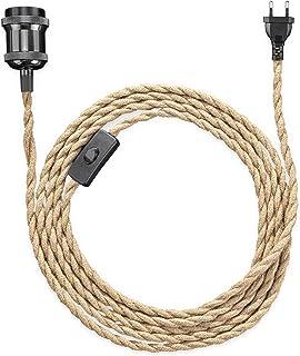 kwmobile Lampe à suspension vintage - Lustre avec corde en chanvre naturel 365 cm - Luminaire rétro avec douille E27 croch...