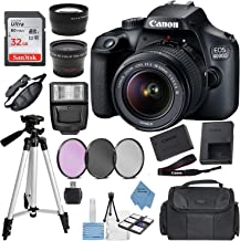 $364 » Canon EOS 4000D (Rebel T100) Digital SLR Camera w/ 18-55MM DC III Lens Kit (Black) with Accessory Bundle, Package Includes: SanDisk 32GB Card + DSLR Bag + 50'' Tripod + Extreme Electronics Cloth…