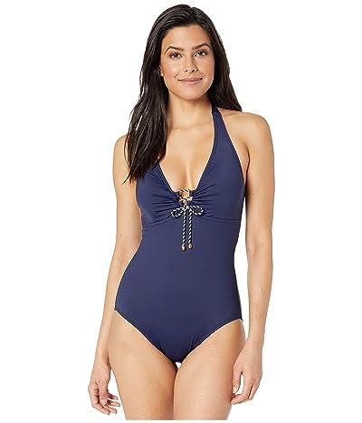 LAUREN Ralph Lauren Beach Club Solids Laced Halter One-Piece Swimsuit (Navy) Women