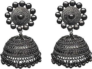 Total Fashion Metal Oxidised Silver Jhumka Earrings for Women & Girls