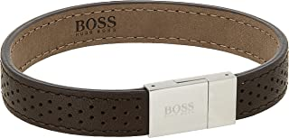 HUGO BOSS MEN'S STAINLESS STEEL & BROWN LEATHER BRACELETS -1580034L