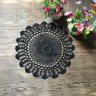 Mindplus 5Pcs 40CM 100% Cotton HandMade Crochet Doilies Cup Mat Pad Coaster Vintage Style Floral Hand Crochet Motifs White Black (black)