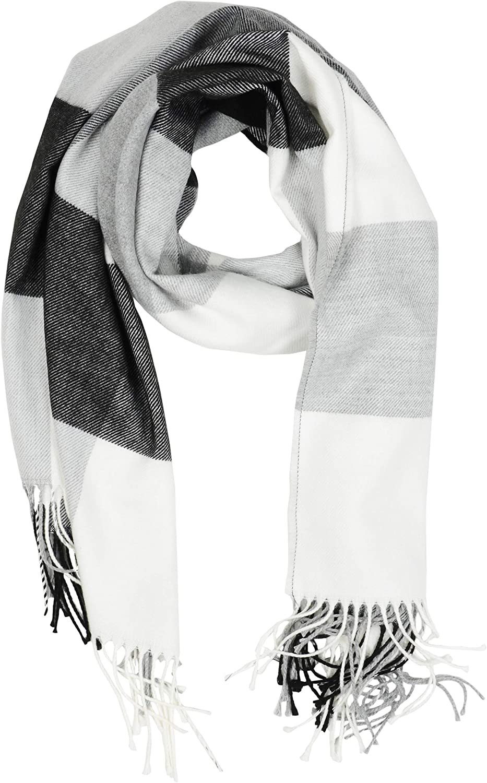 Women's Long Plaid Blanket Chunky Oversized Winter-Fall Warm Scarf Big Cashmire Scarves Wrap Shawl