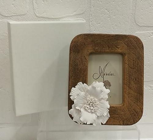 4pièces petit cadre photo résine avec fleur en Boîte cadeau