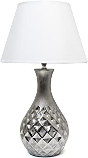 Elegant Designs LT2041-MSV Juliet Ceramic Table Lamp with Metallic Silver Base and White Fabric Shade, 3.5