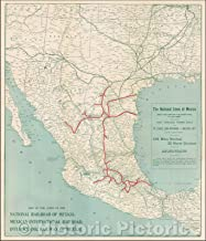 Historic Map - Map of the Lines of the National Railroad of Mexico, Mexican International Railroad, Interoceanic Railway of Mexico, 1908, Poole Brothers - Vintage Wall Art 44in x 52in