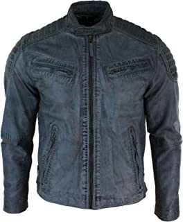 Aviatrix Mens Blue Grey Real Leather Designer Zipped Biker Jacket Washed Casual Vintage