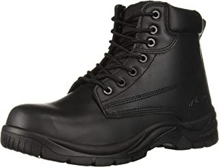 AdTec 6 Mens Work Boots, Black Leather Oil & Slip Resistant Lightweight with Padded Collar
