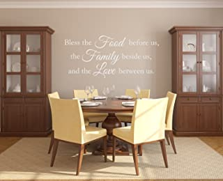 The Vinyl Design Company Bless the Food before us, Family beside us, Love between us - Vinyl Wall Art Decal - 40