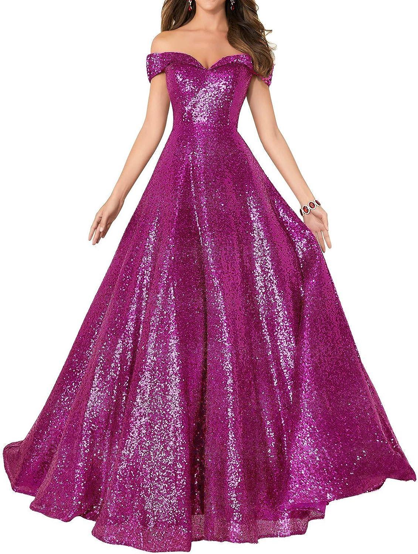 Epinkbridal 2018 Off Shoulder Evening Prom Dress for Women Sparkling Sequin Long A