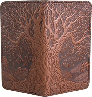 Tree of Life Embossed Genuine Leather Checkbook Cover, 3.5x6.5 Inches, Saddle Color, Made in the USA