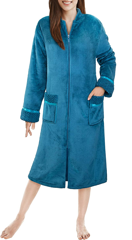 1 year warranty PAVILIA Womens Fleece Housecoat Zipper Robe Warm Plush Cheap bargain F Zip Up