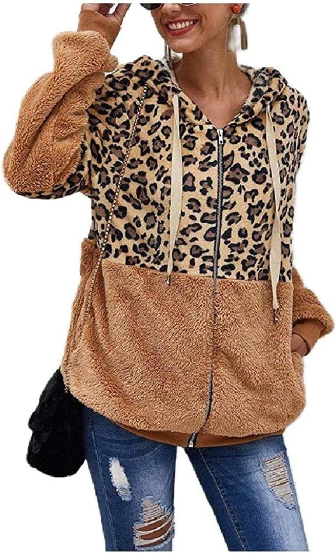 Womens Hooded Zip up Leopard Print Jacket Loose Fluffy Outwear C 100% quality Ranking TOP12 warranty