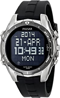 Pulsar Men's PQ2003 World Time Alarm Chronograph Black Urethane Strap Watch