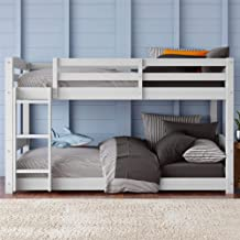 Dorel Living Phoenix Solid Wood Twin over Twin Floor Bunk Beds with Ladder and Guard Rail, White