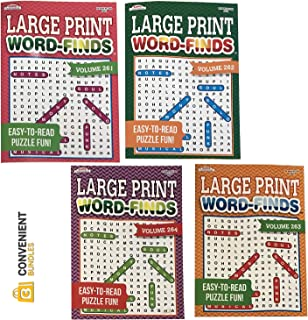 Word Search Puzzle Book Bundle (4-Pack Bundle) Easy-to-Read Large Print | 80 Challenging Searching Games Each | Men, Wome...