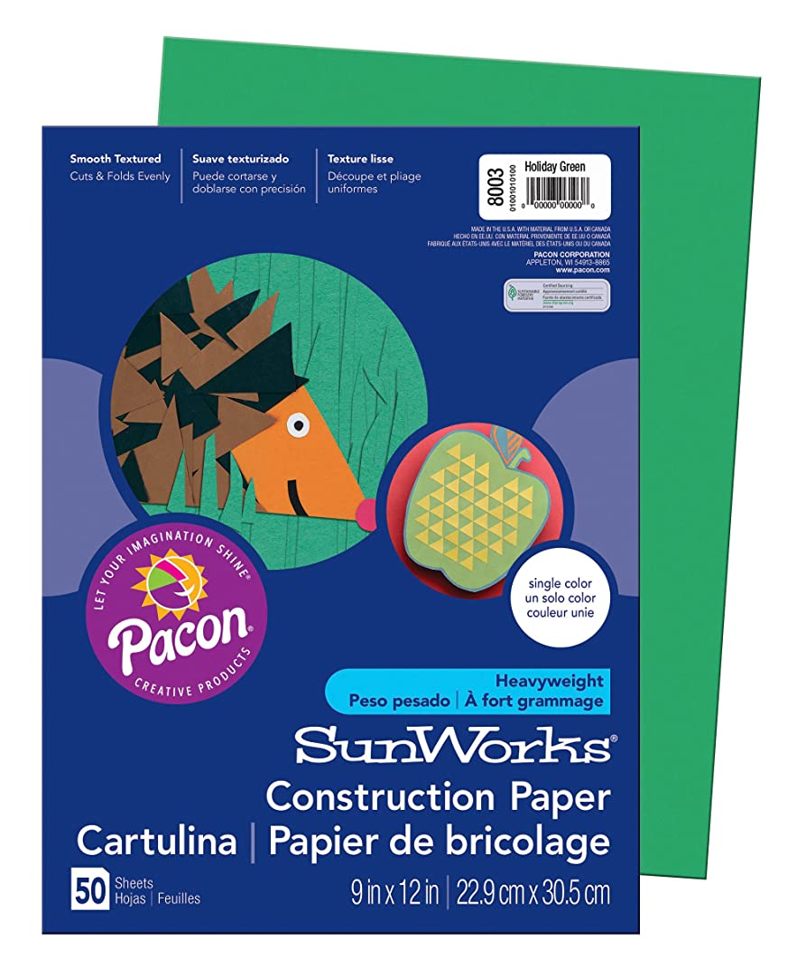 SunWorks Construction Paper, Holiday Green,  9