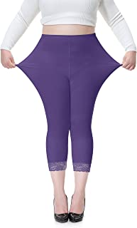 Women's Plus Size Cotton Workout Capri Leggings Stretchy Yoga Tights Solid with Lace Trim
