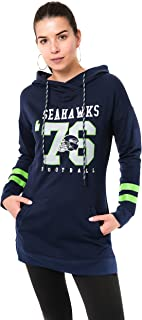 Ultra Game NFL Seattle Seahawks Womens Tunic Hoodie Pullover Sweatshirt Terry, Team Color, Large