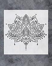 GSS Designs Lotus Flower Mandala Wall Stencil Template (12x12 Inch) - Yoga Studio Boho Bedroom Decor, Painting Stencils fo...