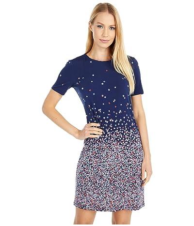 MICHAEL Michael Kors Petite Short Sleeve Ombre Bloom Dress (Coral Peach) Women