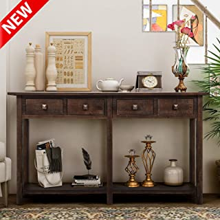 DANGRUUT Upgrade Version Rustic Brushed Texture Entryway Console Table, Best 59