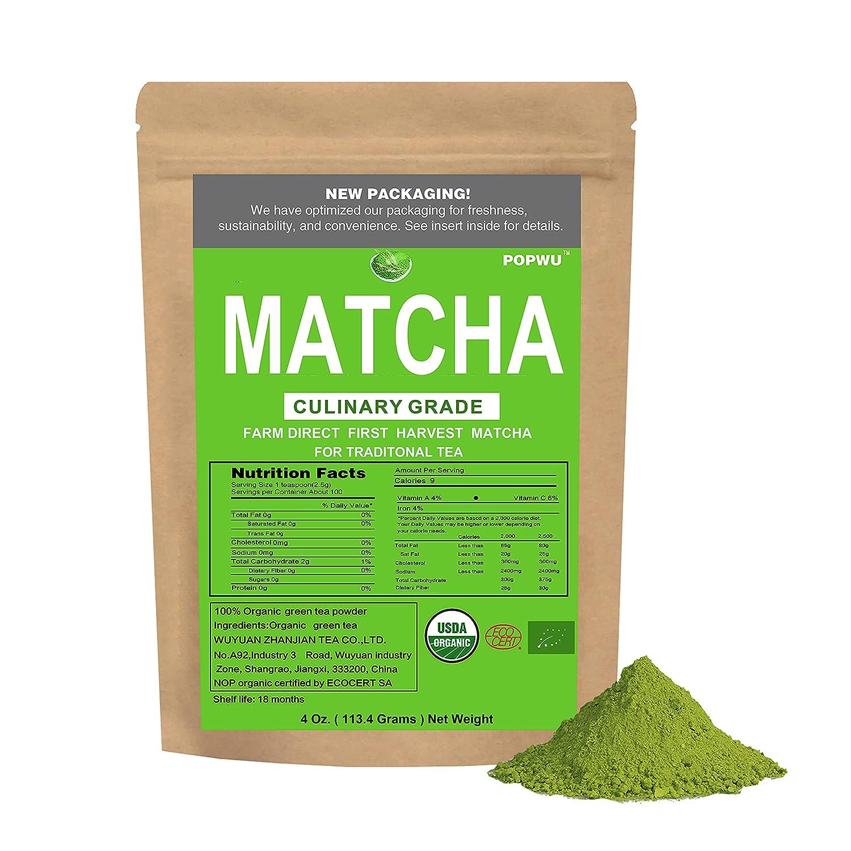POPWU Matcha Green Cheap mail order shopping Tea Powder Limited time cheap sale Culinary Grade 4oz