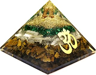 Orgone Pyramid - Tiger Eye Crystal for Orgone Energy Generator - Orgonite Pyramids for Emf Protection - Healing Crystal - Chakra Crystal - Om Symbol for Meditation - Realcrystalstore