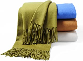 CUDDLE DREAMS Premium Cashmere Throw Blanket with Fringe, Luxuriously Soft (Bamboo Green)