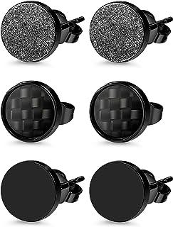 Jstyle 3 Pairs Stainless Steel Stud Earrings for Men Women Black Carbon Fiber Pierced